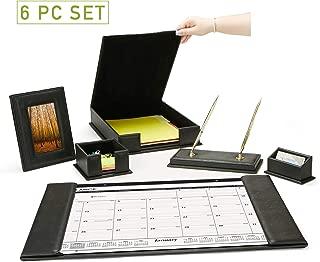 Mind Reader 6 Piece Organizer Set, Desk Calendar, Memo, Business Card, Document/File Holder, Picture Frame, Ball Point Pens, Leather