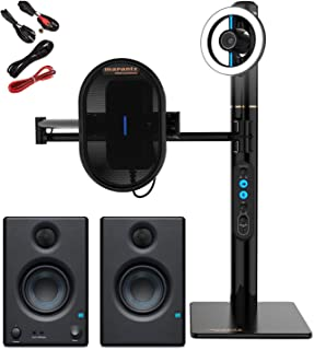 Marantz Professional Turret USB-C Broadcast Video System w/Full HD Webcam/USB Condenser Microphone/Dimmable LED Light Ring & Internal USB Hub/Self Contained w/Presonus Monitor Pair w/Stereo Cables