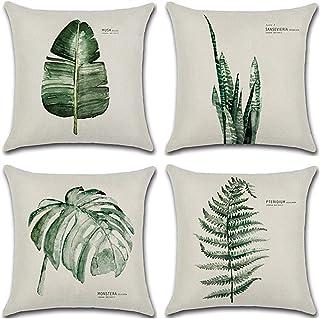 HuifengS - Fundas de cojín cuadradas de lino - decorativas, para sofás o camas - con motivo tropical, de bosque, plantas, ...