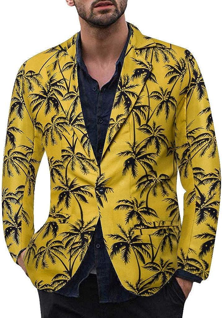 Blazers for Men Casual Vintage Turn-Down Collar Long Sleeve Print Floral Blazer Coat
