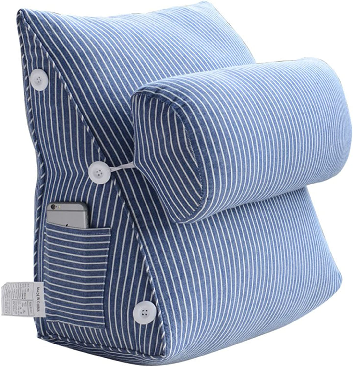 Cushion Cotton Headboard Pillow, Office Waist Belt Pillow, Sofa seat Triangle Cushion (color   bluee, Size   582250cm)