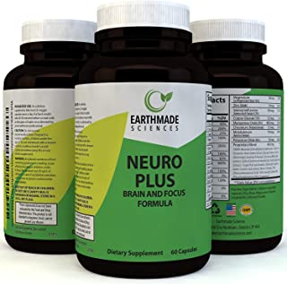 Neuro Plus Brain and Focus Supplement - Cognitive Enhancement Pills Boost Memory Concentrations and Balance Mood - Natural Nootropic Anti Aging Formula for Mental Performance by Earthmade Sciences