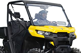 SuperATV Heavy Duty Scratch Resistant Clear Vented Full Windshield for Can-Am Defender HD 5/8 / 10 / MAX (2016+) - Hard Coated for Extreme Durability - Easy to Install!