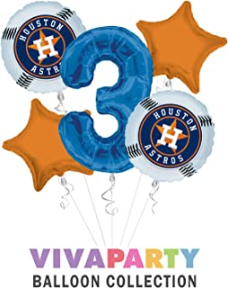 Houston Astro Balloon Bouquet 5 pc, 3rd Birthday,   Viva Party Balloon Collection