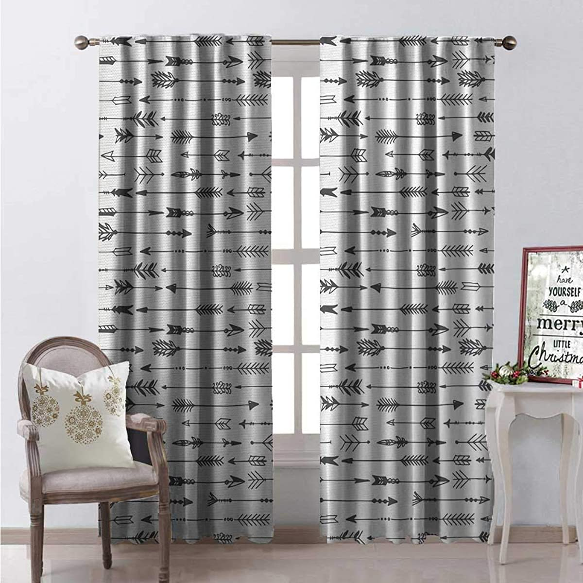 Hengshu Arrows Thermal Insulating Blackout Curtain Arrows Rustic Design Pattern in Vintage Artwork Drawing Art Effect Print Blackout Draperies for Bedroom W72 x L84 Black and White