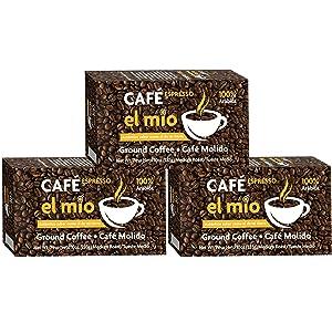 Café El Mio Espresso, 100% Pure Coffee, Ground Coffee 10-oz Bricks (3 PACK)