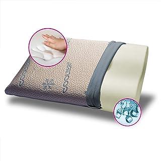 Gemma s.r.l. - Almohada viscoelástica fresca y ortopédica, modelo cervical de doble onda, altura 10 y 12 para 38 x 68 cm con tejido refrescante Cooler