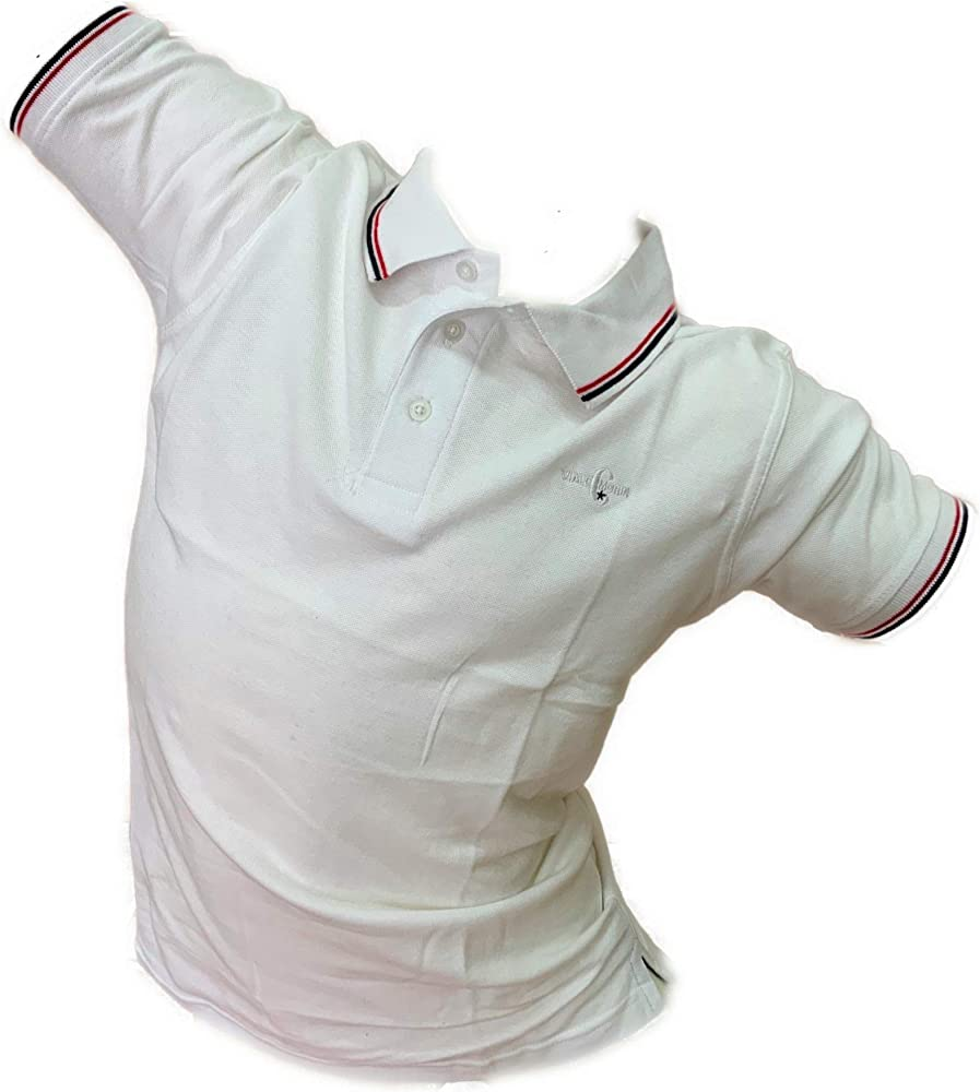 Enrico coveri, maglietta maniche corte, polo per uomo, in 100% cotone piquet, BIANCA