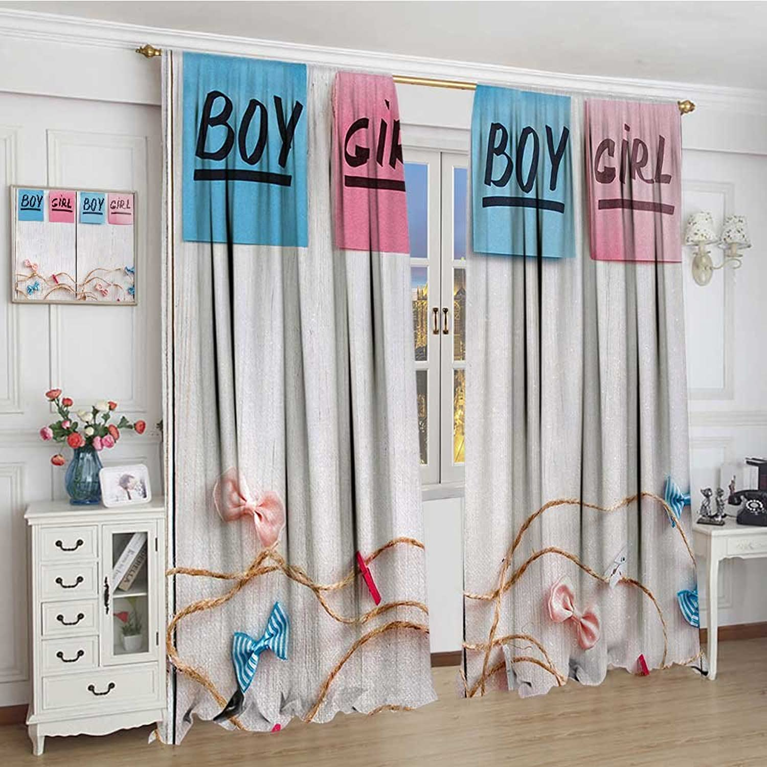 Smallbeefly Gender Reveal Widened Room Darkening Curtains colorful Stickers Garland and Ribbons Greetings on Wooden Seem Background Drapes for Living Room 120 x84  Multicolor