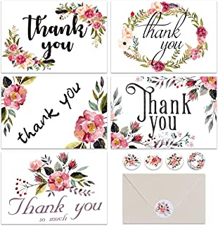 Doris Home Thank You Cards 48 pcs Floral Flower Greeting Cards Notes for Wedding, Baby Shower, Anniversary, 6 Design Blank Inside 4 x 6 inch- Luxurious Pearl Envelope (Burgundy with Seals)