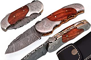 5060-ENG Custom Made Damascus Steel Folding Knife
