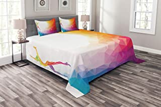 Ambesonne Sports Bedspread, Gymnastics Girl Gymnast Portrait Colored Geometric Digital Shapes Modern Olympics, Decorative Quilted 3 Piece Coverlet Set with 2 Pillow Shams, Queen Size, White Ruby
