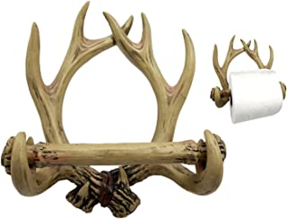 Ebros Rustic 10 Point Buck Deer Antlers Skeleton Toilet Paper Holder Bathroom Wall Decoration Country Cabin Lodge Ranch Home Decor of Deers Bone Antler Horn