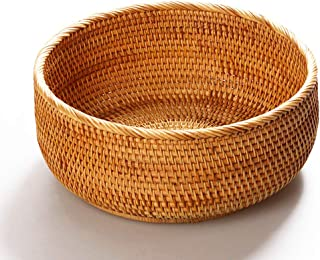 amololo Hadewoven Round Rattan Fruit Basket Wicker Food Tray Weaving Storage Holder Dinning Room Bowl (Large 9.8
