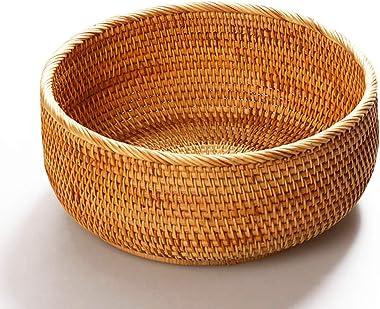 "AMOLOLO Hadewoven Round Rattan Fruit Basket Wicker Food Tray Weaving Storage Holder Dinning Room Bowl (Large 9.8"")"