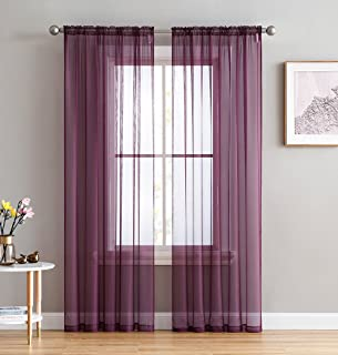 HLC.ME Plum Sheer Voile Window Treatment Rod Pocket Curtain Panels for Bedroom and Living Room (54 x 84 inches Long, Set of 2)
