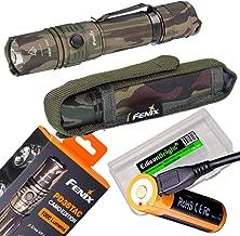 EdisonBright Fenix PD35 TAC 1000 Lumen Camouflage version CREE LED Tactical Flashlight (Camo) with Fenix USB rechargeable 18650 ARB-L18-2600U Li-ion battery and BBX3 battery case