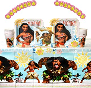 Moana Birthday Party Supplies Pack for 16 Guests | Thank You Stickers, 16 Dinner Plates, Luncheon Napkins, Cups, and Table Cover | Throw A Birthday Party With Moana And Maui With This Party Pack!