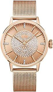 ساعة للنساء من جيه بي دبليو مرصعة بعدد 12 قطعة الماس، سوار ستانلس ستيل- J6339B