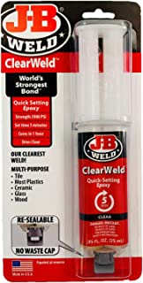 J-B Weld 50112 ClearWeld Quick-Setting Epoxy Syringe - Clear - 25 ml