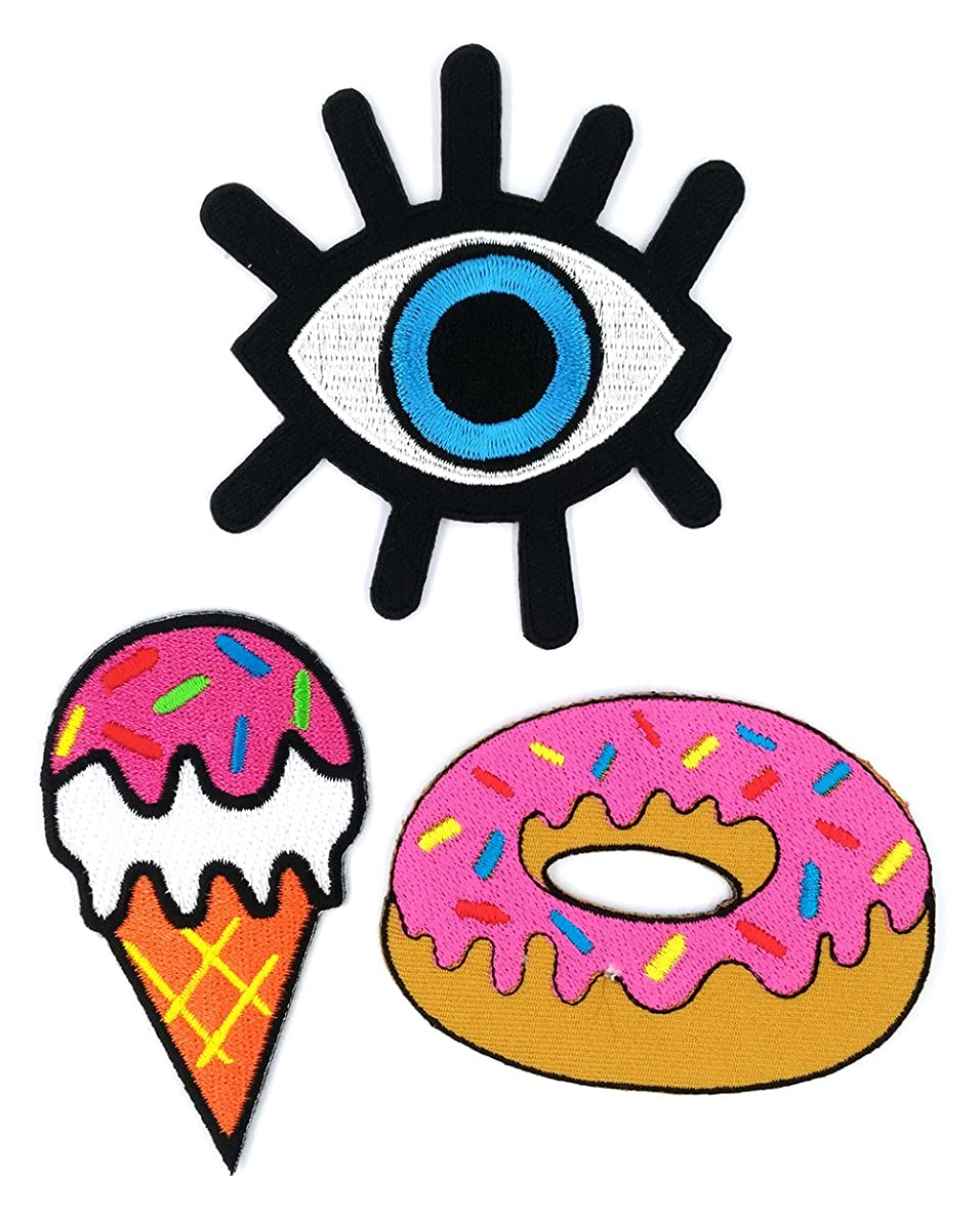 Peace009-DONUT - 3 Space Iron-on Applique Embroidered Patch (Eye Eyeball Tattoo, Ice Cream Cone and Pretty Strawberry Doughnut)
