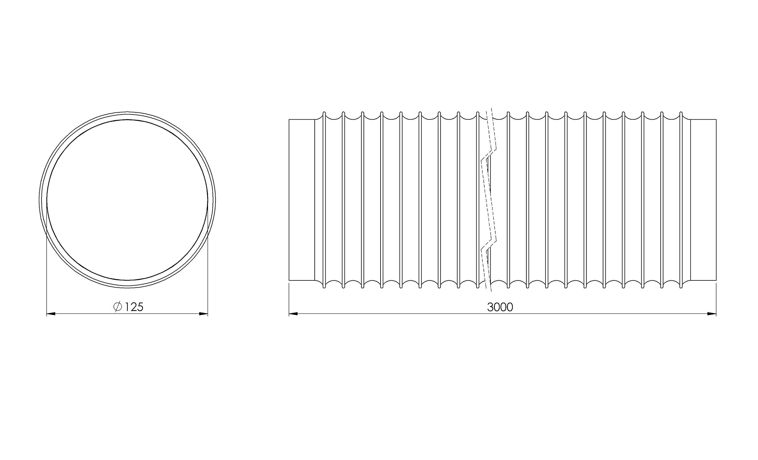 Tubo de salida de aire de 125 mm de diámetro, color negro, 3 m de longitud con aislamiento de aluminio, para secadora, aire acondicionado, campana extractora, tubo flexible de aluminio/PVC: Amazon.es: Grandes