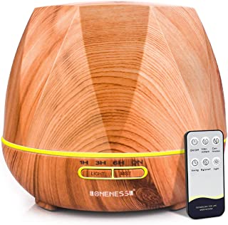 LONENESSL 400ml Essential Oil Diffuser, Ultrasonic Cool Mist Air Humidifier with Remote Control and 7 Colourful LED Lights...