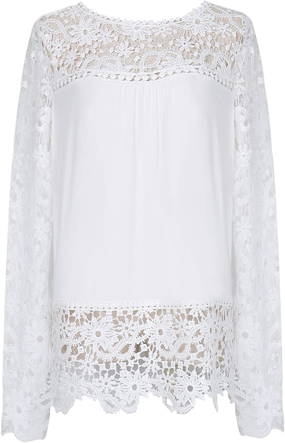 Unomatch Women Top Lace Decorated Loose Waist Shirt and Blouse White (WHITE)