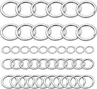 Fandamei 40 Pcs Split Key Rings - 15/20/25/32mm Flat Key Rings Bulk for Crafts, 1 Inch Nickel Plated Silver Key Rings for ...