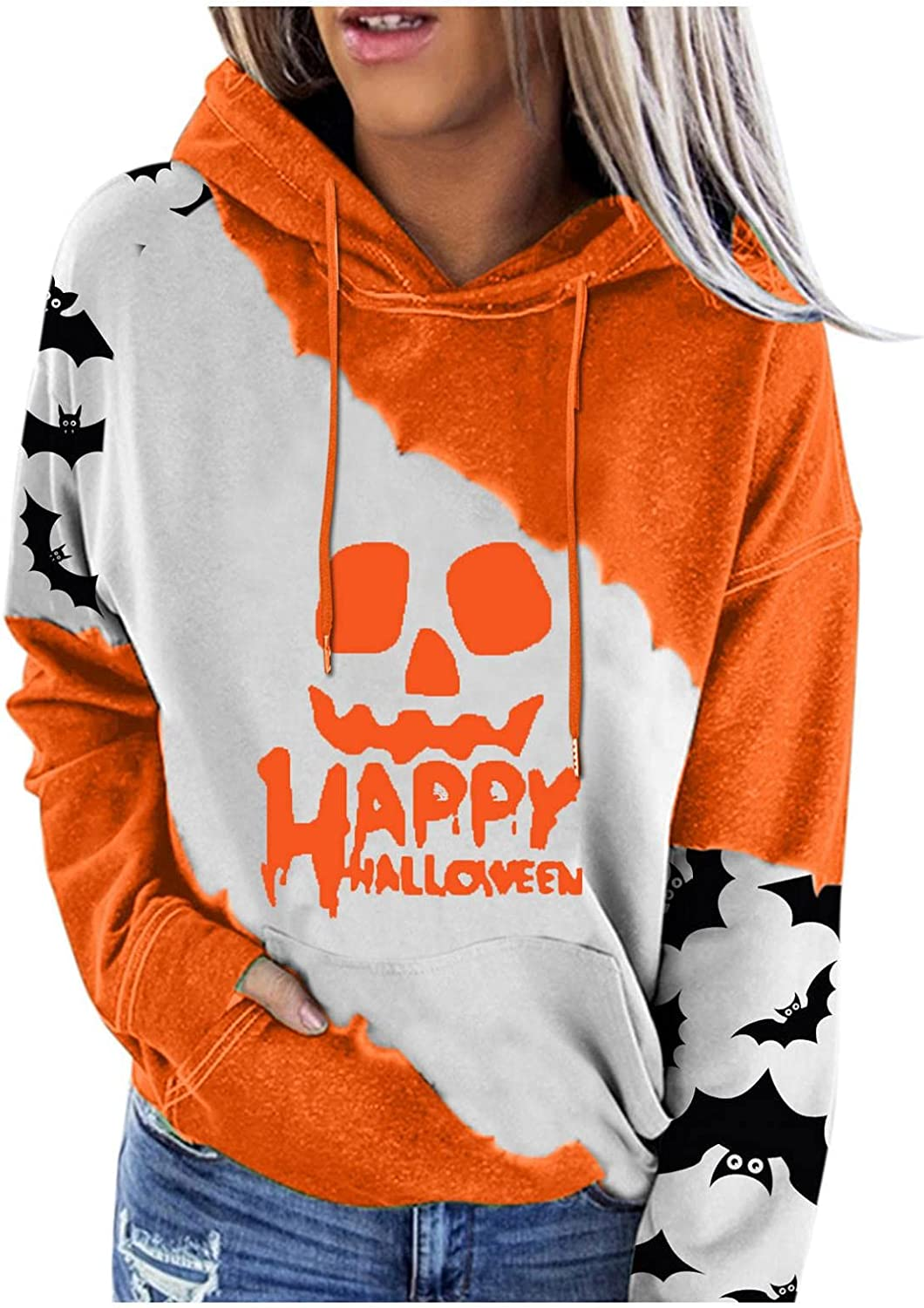 Halloween Sweatshirts for Women, Womens Casual Solid Color Long Sleeve Ribbed Pullover Hoodie Sweatshirt Tops with Pockets