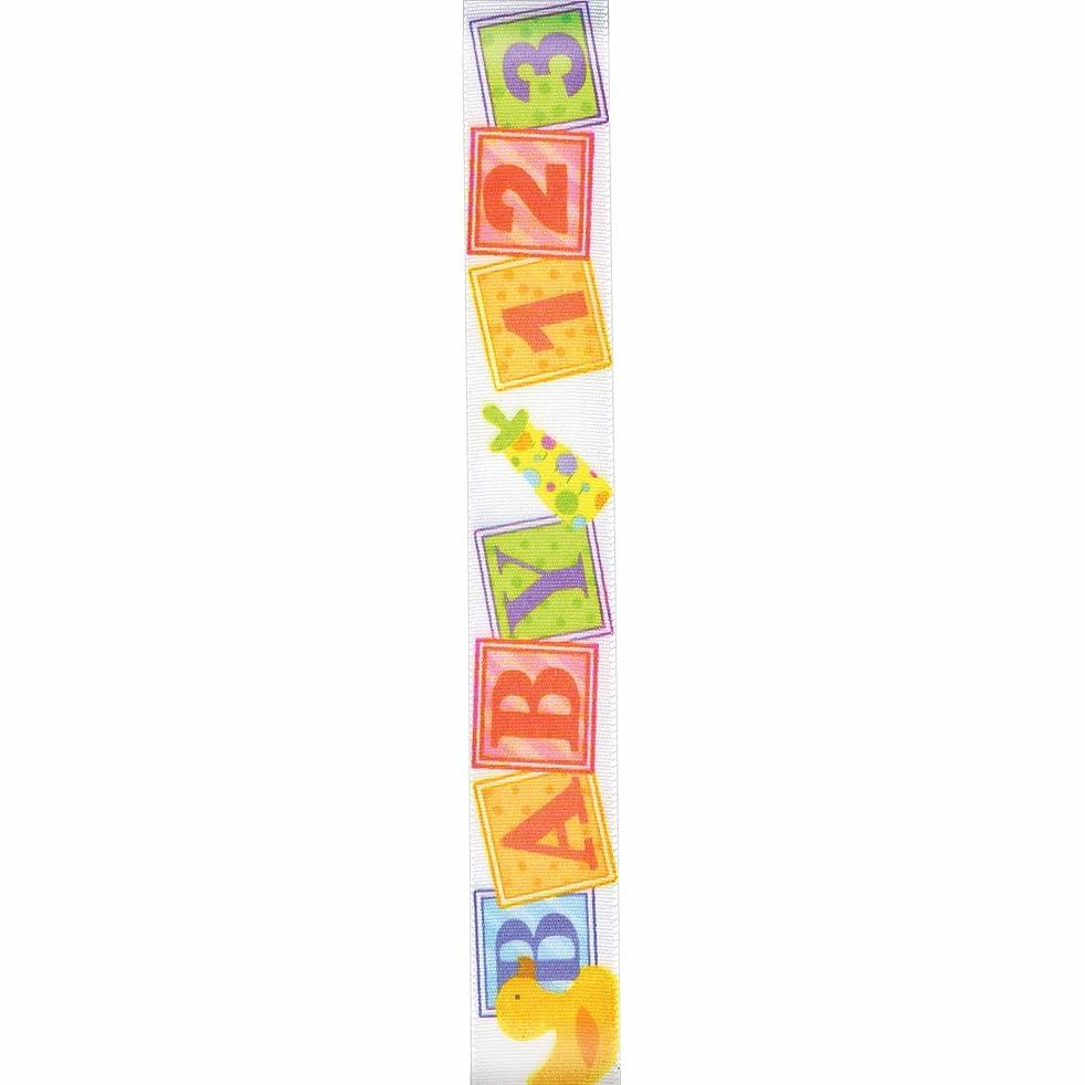 Offray Blocks w/Ducks Craft Ribbon, 7/8-Inch x 9-Feet, Pastel