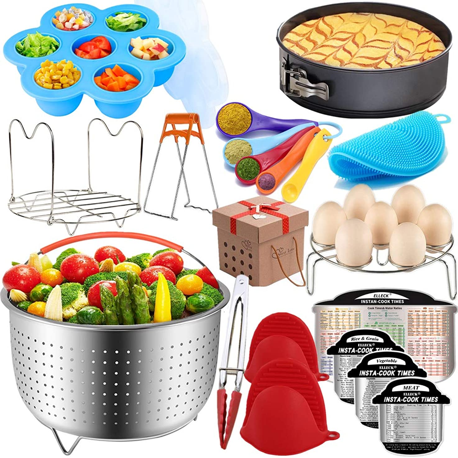Pressure Cooker Accessories Set Compatible with Instant Pot 5,6,8 QT, Steamer Basket, Springform Pan, Egg Rack, Egg Bites Mold, Cheat Sheet Magnets, Bowl Clip, Tong and Mitts& Scrub/12pcs qpaugeccguewa1
