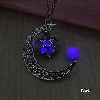 KeyZone Women Fluorescence Glow in The Dark Crescent Moon Heart Necklace Jewelry Purple