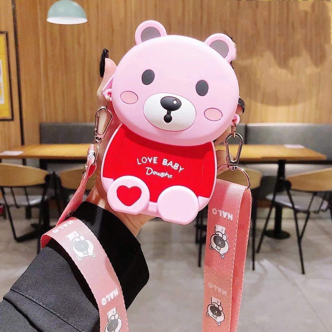 ISYSUII Cute Cartoon Design Case for iPhone 8 Plus/iPhone 7 Plus 3D Bear Character Kawaii Girls Women Teens Soft Silicone Shockproof Rubber Cover Crossbody Card Holder Case with Kickstand,Pink