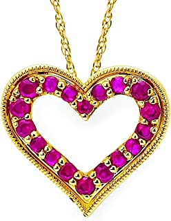 14K White Gold Ruby Heart Pendant Necklace with 18