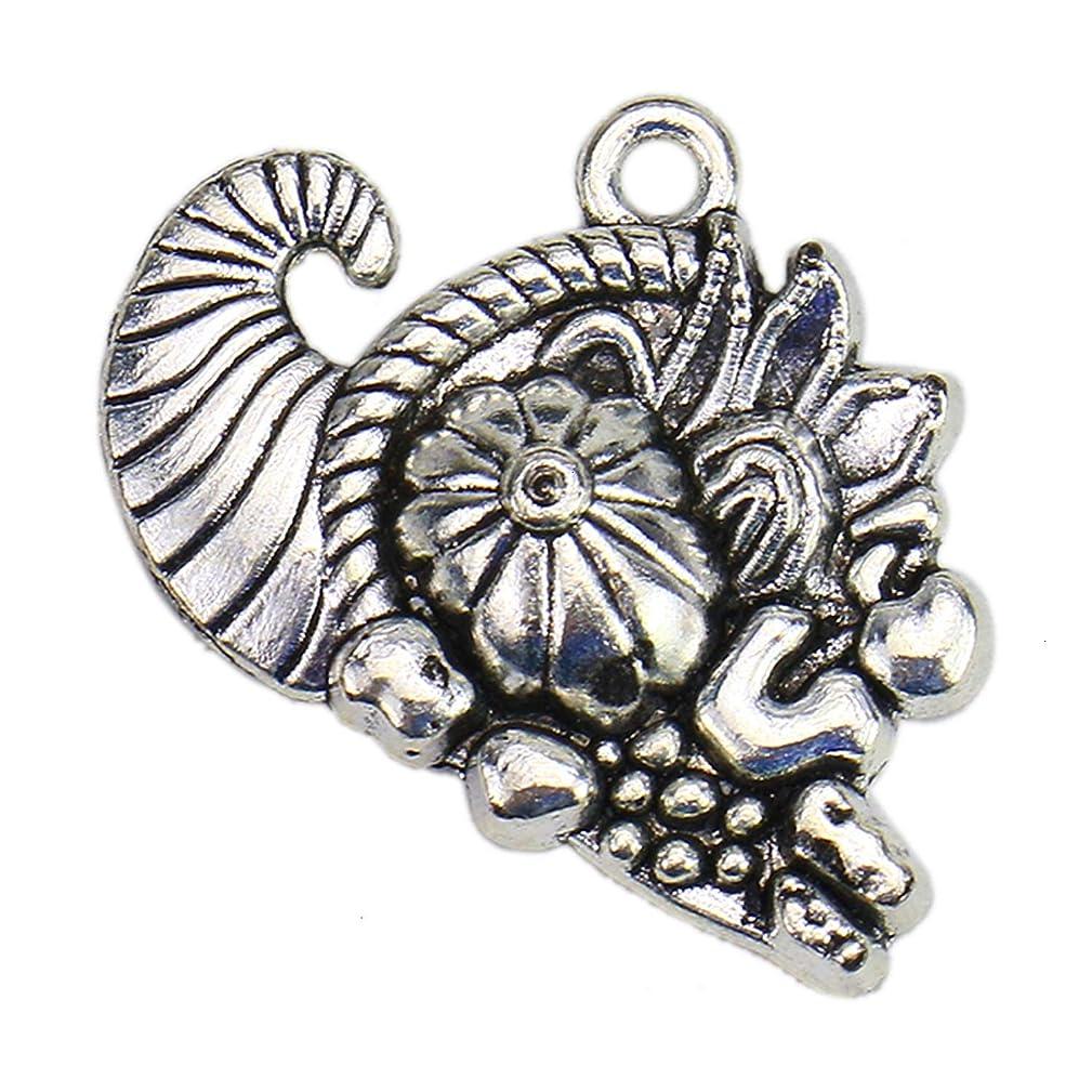 Monrocco 100 Pcs Antique Silver Cornucopia Charms Pendant for Bracelets Jewelry Making