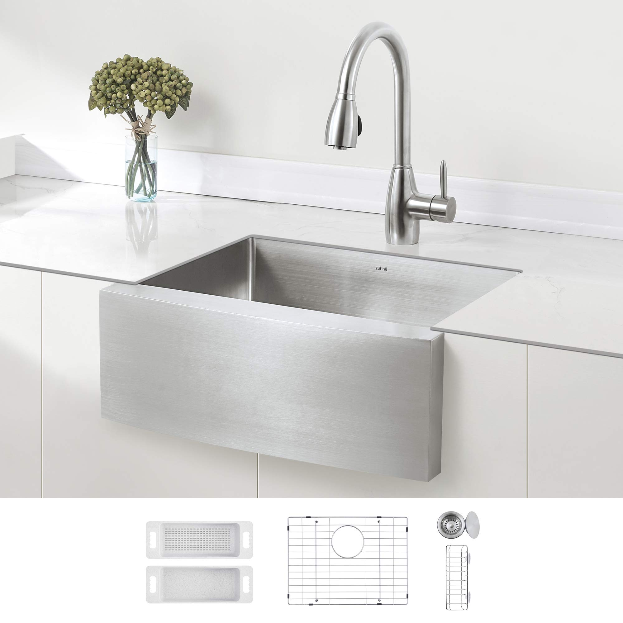 Zuhne Stainless Steel Farmhouse Kitchen Sink 24 Inch Apron Front 16 Gauge Small Bowl Amazon Com