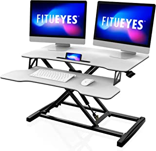 FITUEYES Height Adjustable Standing Desk 32''/80 cm Wide Computer Workstation with Smart Phone Holder Slot and Keyboard Tr...