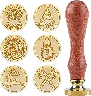 Kit de sceaux et tampons de cire de Noël 5 pièces de tampons de cire à cacheter Sceaux de cuivre Tête en laiton amovible d...