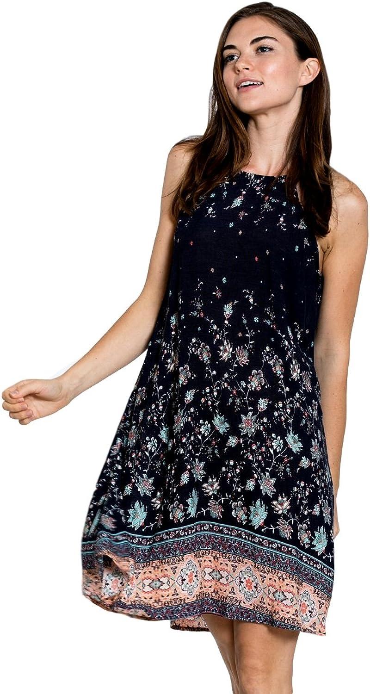 En Crème Womens Sleeveless Short Mini Midi Floral Embroidered Hipster Dress