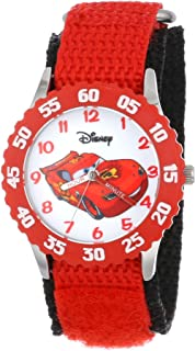 Disney Kids' W001003 Time Teacher Cars Lightning McQueen Stainless Steel Watch with Red Nylon Strap