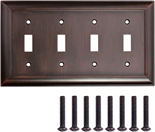 AmazonBasics Quadruple Toggle Light Switch Wall Plate, Oil Rubbed Bronze, 1-Pack
