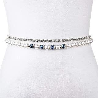 MYCHOMEUU Beaded Rhinestone Inlaid Decorative Belt Female Thin Dress Waist Chain Wide Fashion Simple Wild (Color : Dark Blue, Size : 125cm)