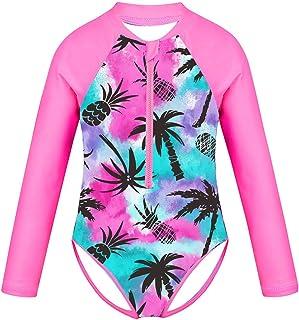 Nimiya Kids Girls One Piece Long Sleeve Zipper Front Rash Guard Shirt UPF 50+ Sun Protection Swimsuit