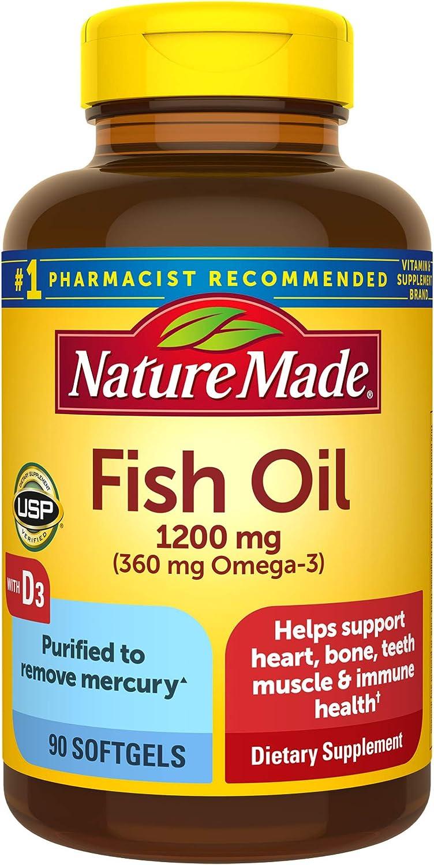 Nature Made Choice Fish Oil Omega 3 1200 with Vitamin 2000 90 D3 2021new shipping free mg IU