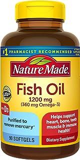 Sponsored Ad - Nature Made Fish Oil 1200 mg Plus Vitamin D 1000 IU Liquid 90 Softgels (Pack of 3)