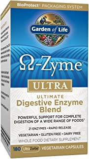 Garden of Life Vegetarian Digestive Supplement - Omega Zyme Ultra Enzyme Blend for Digestion, Bloating, Gas, and IBS, 180 Capsules