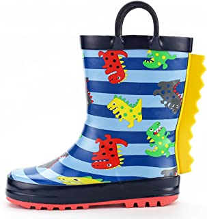 K KomForme Kids Girl Boy Rain Boots, Waterproof Rubber Printed with Handles