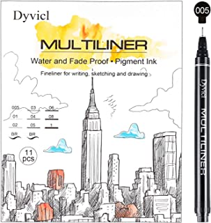 Dyvicl Multiliner Inking Pen Set, Precision Micro-Line Pens, Fineliner Pens Black Waterproof Archival Ink, Artist Manga Illustration, Anime, Sketching, Technical Drawing, Bullet Journaling