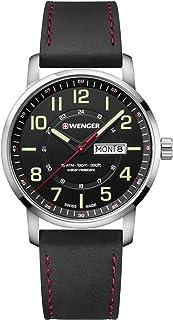 Wenger 01.1541.101 Men's Attitude Black Dial Black Leather Strap Watch